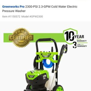 Greenworks Pro 2300-PSI 2.3-GPM Cold Water Electric Power Pressure Washer for Sale in Staten Island, NY