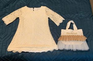 3T Beige Lace Flower Girl Dress W/ bag never worn for Sale in Cape Coral, FL