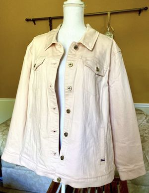 *BRAND NEW w/ TAGS Tommy Hilfiger* Pink Womens Plus Collared Outerwear Denim Jacket Pink Size 2X for Sale in University Place, WA