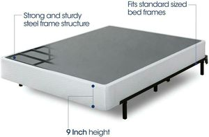 """Queen 9"""" steel slat heavy duty smart box spring bed frame for Sale in Las Vegas, NV"""