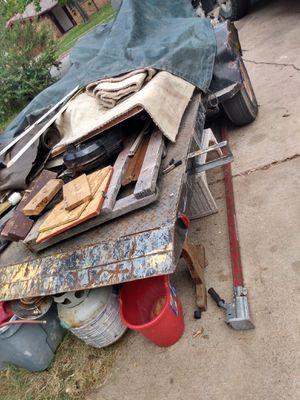 Homemade 15ft flatbed trailer w/ built in dump and break away brake. for Sale in Dallas, TX