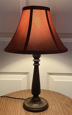Vintage Antique Spindle Wood Table Lamp With Red Shade Farmhouse Shabby Chic Country Cottage Style Living Room Bed Light for Sale in Chapel Hill, NC