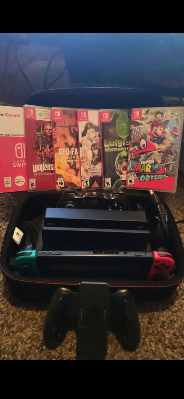 NINTENDO SWITCH BUNDLE W/6 GAMES AND MULTIPLE ACCESSORIES!