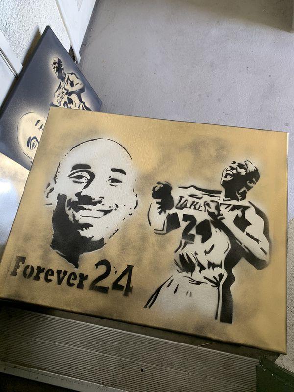 Kobe Bryant 16x20 Graffiti Canvas