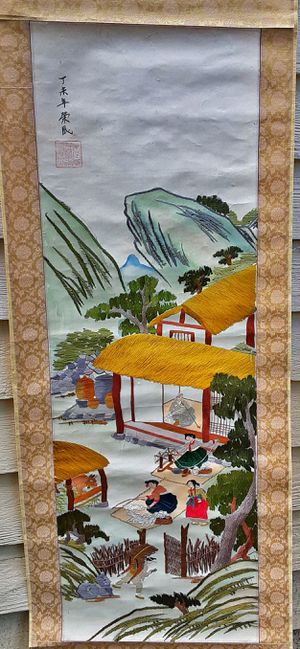 "Antique Japanese crewel embroidery art signed scroll wall hanging AI 64"" x. 16.75"" for Sale in Saginaw, MI"