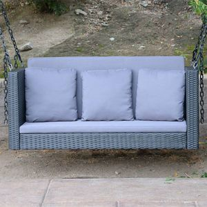 "Black - 54.5"" Patio Porch Swing Chair Bench Wicker Tree Ceiling Hanger for Sale in El Monte, CA"