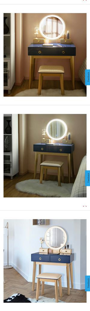 New Vanity Makeup Table Touch Screen 3 Lighting Modes Dressing Table Set Navy Blue for Sale in La Puente, CA