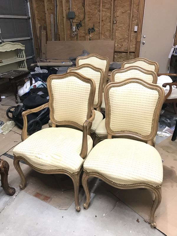 Drexel french style dining table set 6 chairs, 3 leaves