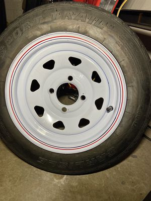 "Carlisle 12"" trailer white spoke tire on rim for Sale in Baldwin Park, CA"