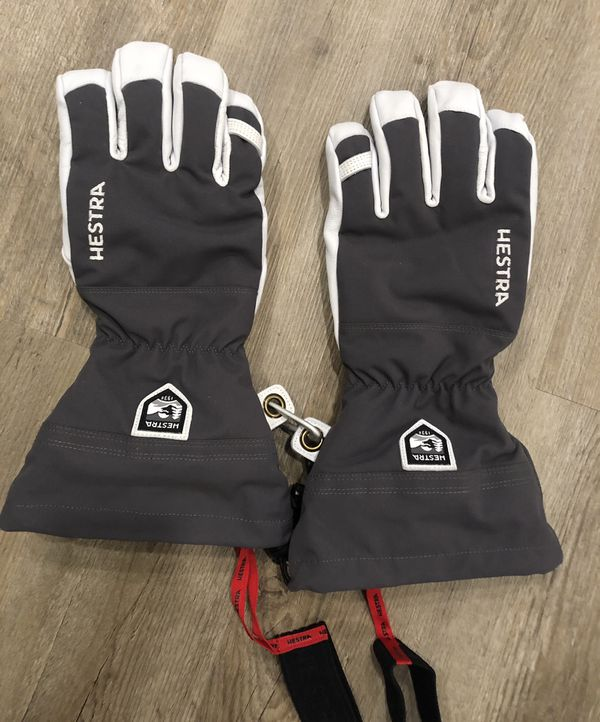 NEW Hestra Army Leather Heli Ski Snow Snowboard Gloves Men's Large 10 Grey