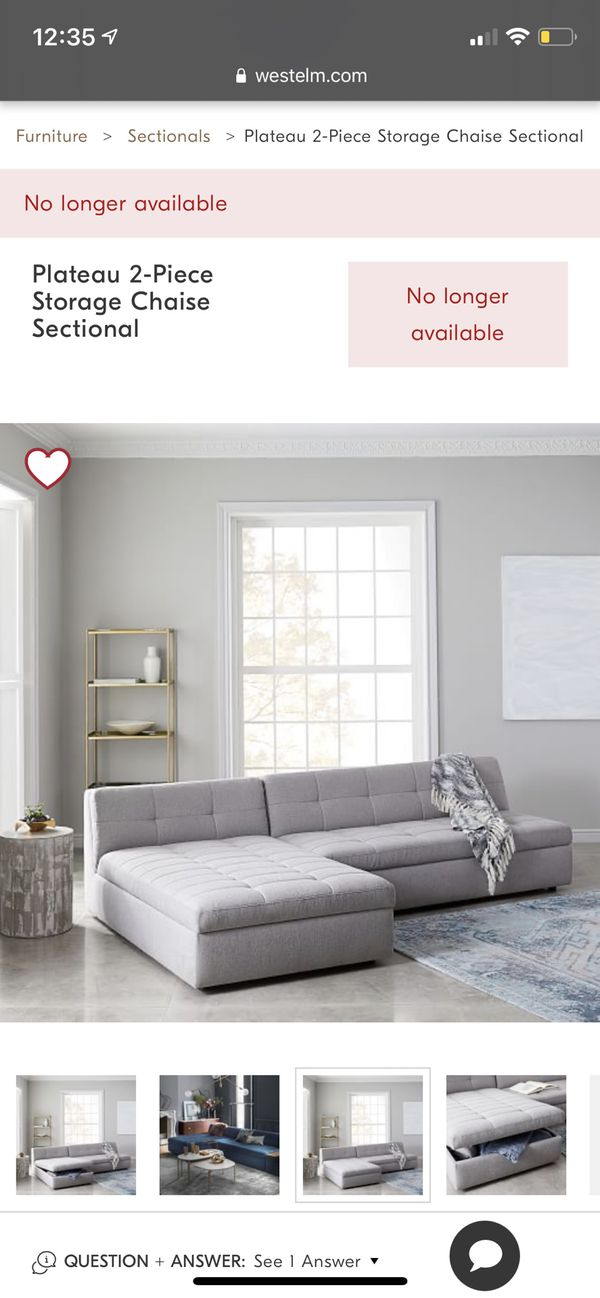 West Elm 2 Piece Sectional With Storage Chaise