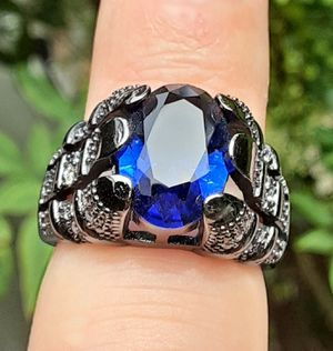 Mens Black Gold Filled Oval Blue Sapphire Ring Size 10 Stamped for Sale in Union, WA
