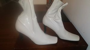 Women's tan heeled boots sz 8 and a half for Sale in Cleveland, OH