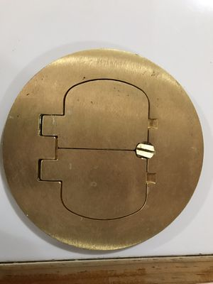"""5"""" Round Cover, Metallic, Cover Type: Duplex Service. Device Type: Decora/GFCI Receptacle, Color: Brass. For Use In Carpet and Tile Applications for Sale in US"""