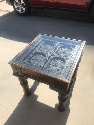 Upscale House Furniture - Antique Style Reclaimed Wood Indian Chai Side/End Table with Glass Top And Brass Medalions for Sale in Los Angeles, CA