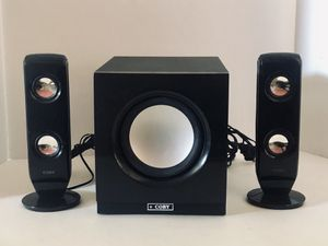COBY HIGH PERFORMANCE 2.1 CHANNEL MP3 SPEAKER SYSTEM for Sale in San Diego, CA