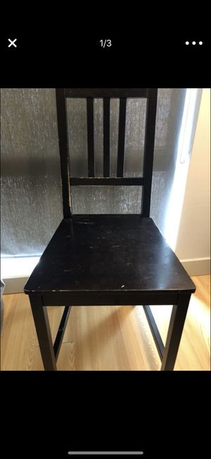 Set of 2 black wooden chairs... used for Sale in Boston, MA
