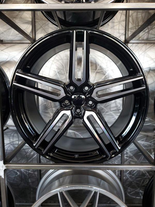 Black machine face 20x9/20x10 rims fits mustang Infiniti Nissan 5x114 +35