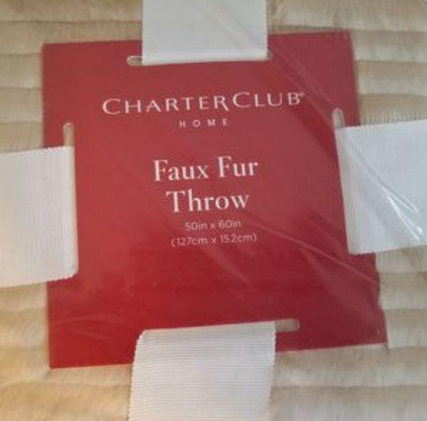Charter Club Faux Fur Throw Blanket 50in x 60in