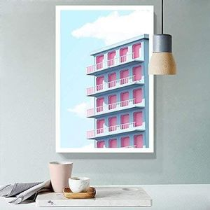 ((FREE SHIPPING)) drawing of fresh color tone building with sunny sky - giclee print gallery wrap modern home decor Painting like print for Sale in Kentfield, CA