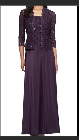 Formal Dresses Size 14W Eggplant Purple Long Sleeves Maxi Jacket Dress Mother of the Bride for Sale in Burbank, IL