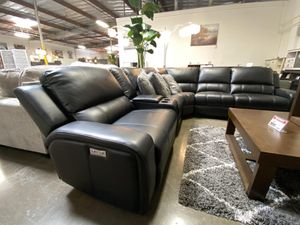 NEW IN THE BOX. EURO 3 PC POWER MOTION SECTIONAL SOFA RECLINER, SKU# EUROGRY for Sale in Garden Grove, CA