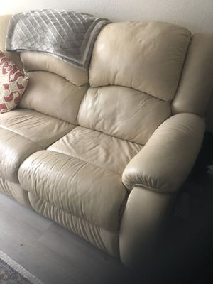 Ivory leather couch for Sale in St. Louis, MO