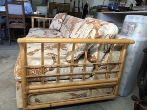 Gorgeous and cute Rattan PULL OUT sofa couch for Sale in Huntington Beach, CA