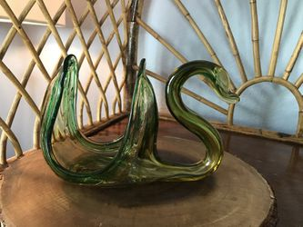 "Vintage Hand Blown Swan Amber Green Swan Bowl Murano Table Art Mid Century Modern Boho Bohemian 8x5"" for Sale in San Diego,  CA"
