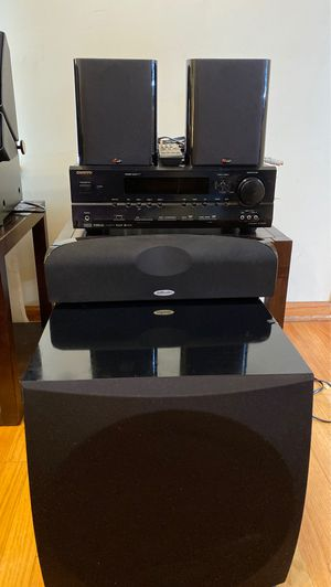 Polk Audio home theater 7.1/5.1 home theater with powered sub and onkyo receiver for Sale in Aurora, IL