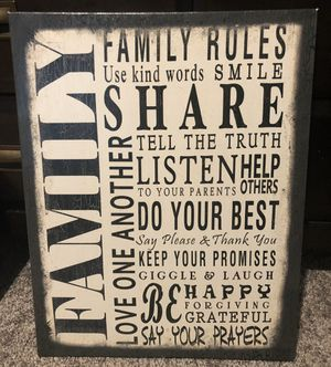 Home decor - Family Rules rustic sign for Sale in Mill Creek, WA