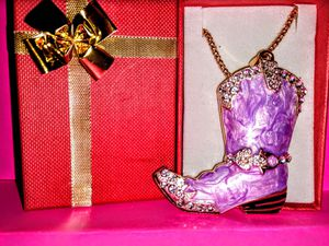Betsey Johnson Crystal Boot Necklace for Sale in Wichita, KS