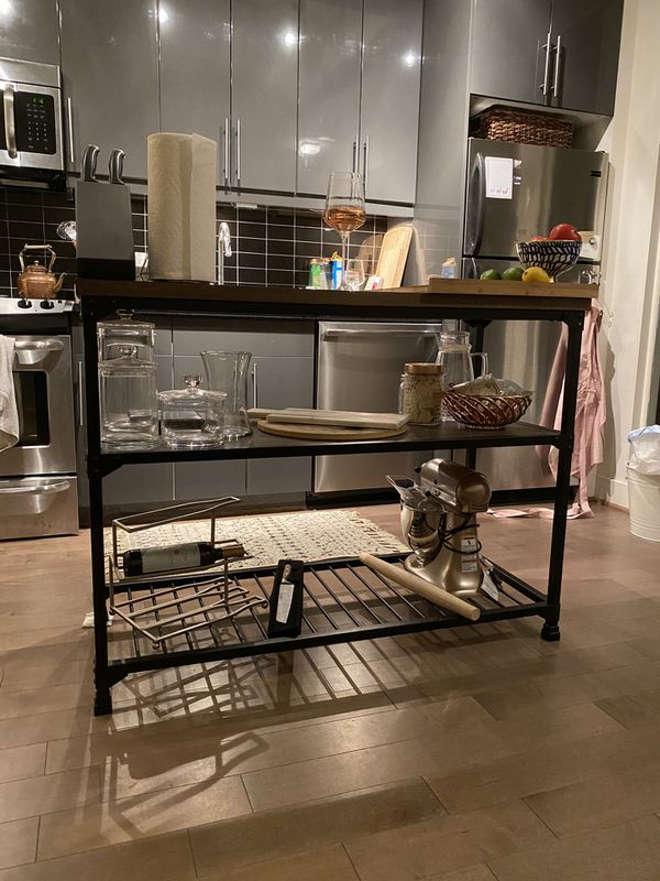 Rustic / Industrial Kitchen Island Work Table for Sale in ...