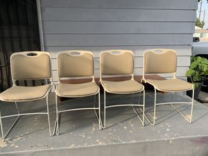 4 Beige metal chairs for Sale in Bell Gardens, CA