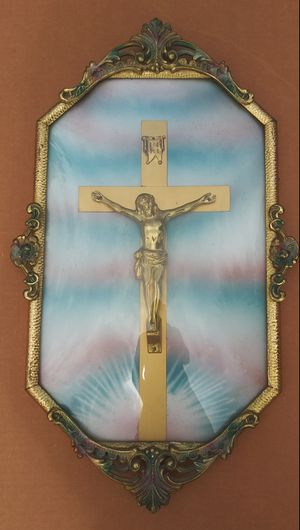 Antique Jesus on Crucifix **30.00 Firm** INRI in Brass Bubble Glass Frame for Sale in Orlando, FL