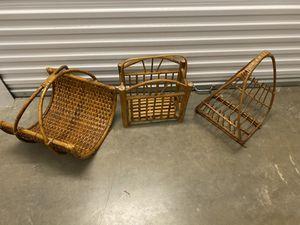 3 vintage bamboo rattan boho magazine racks $50 each for Sale in Sugar Land, TX