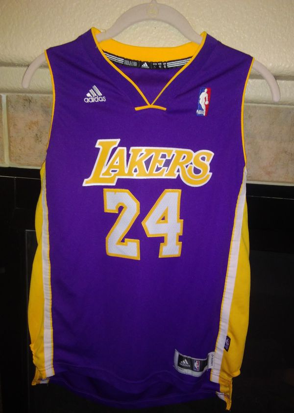 "Kobe Bryant Los Angeles Lakers Adidas Jersey Boys Youth Large 14/16 Length +2"""