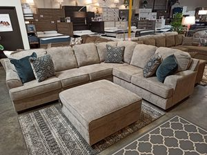 Stone Color Sectional Sofa with Ottoman for Sale in Santa Fe Springs, CA