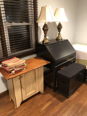 Desk -wood that folds down with storage bench for Sale in Nanuet, NY