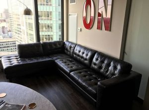 Modern, Large, Leather, Sectional Sofa - Browne/Black, Righ-Arm Facing Sofa for Sale in Boston, MA
