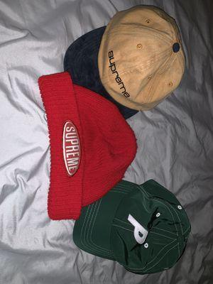 Supreme Navy Hat and Primitive Green baseball cap (supreme beanie taken) for Sale in Longmont, CO