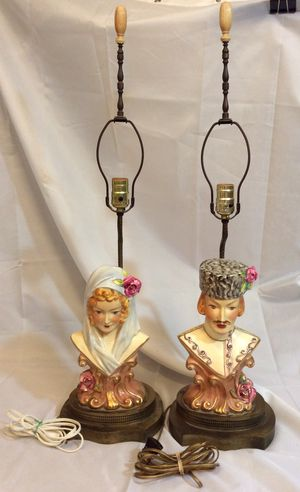 Vintage Pair of 1940s Figural Lamps Cossack Man Woman for Sale in Rockville, MD