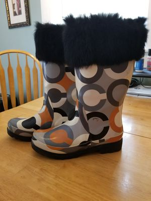 Coach Rain Boots Multi Color ..FurTrim for Sale in Pepperell, MA