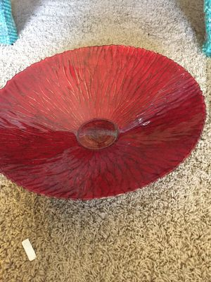 Red glass bowl for Sale in Humble, TX
