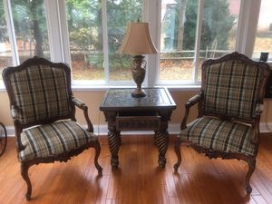 Antique arm chairs custom upholstery perfect shape for Sale in Columbia, MD