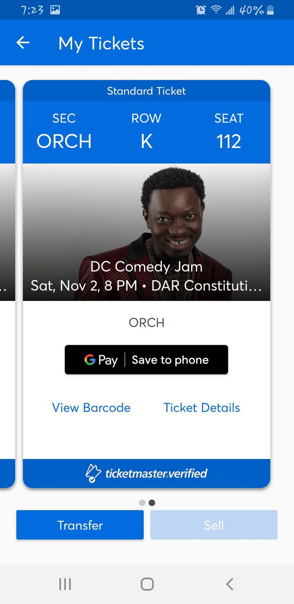 2 DC COMEDY JAM TICKETS!!!!!...10 ROWS FROM THE STAGE IN ORCHESTRA!!!