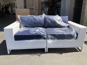 Brand New Miami Love Seat with Navy Blue Cushions. White wicker outdoor patio deck porch furniture household general for Sale in National City, CA