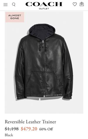Coach Leather Zip-Up Jacket (Size: Large) - Black 100% Authentic for Sale in Cypress, CA