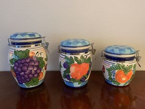 Kitchen Canister Set Ceramic 3 Pc Storage Container Jar Counter Sugar Coffee for Sale in Los Angeles, CA