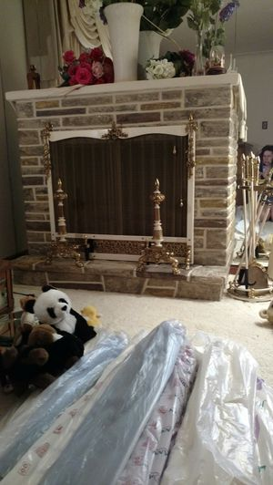 Fake fireplace with accessories for Sale in Grosse Pointe, MI
